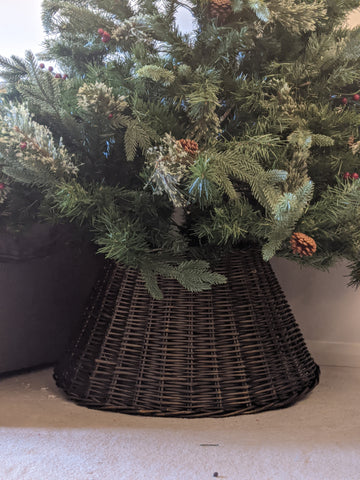 Luxury Wicker Christmas Tree Skirt - Brown 65cm