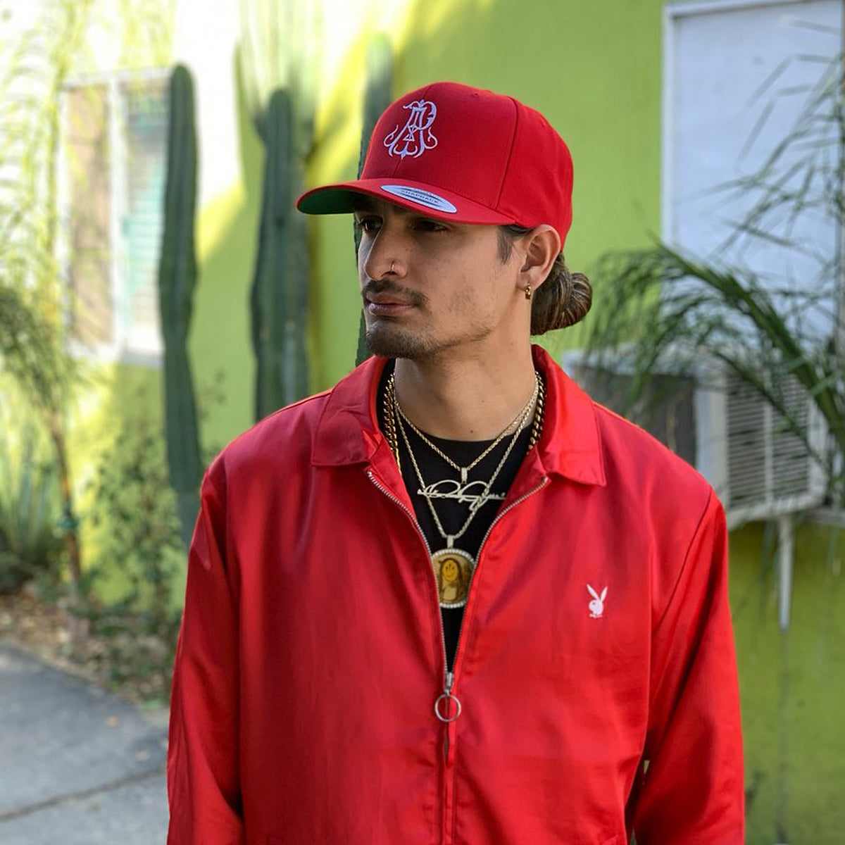 Monogram Snapback Hat - Red
