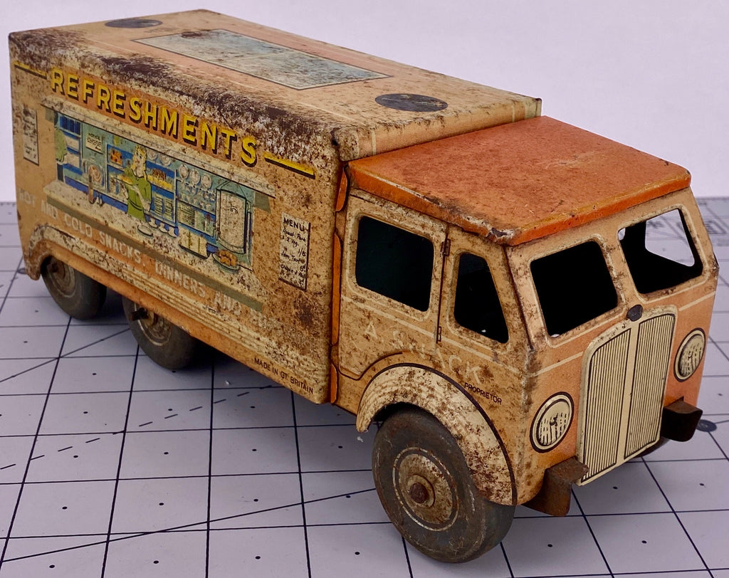 Mettoy Tinplate Clockwork 6 Wheeled Refreshment Truck