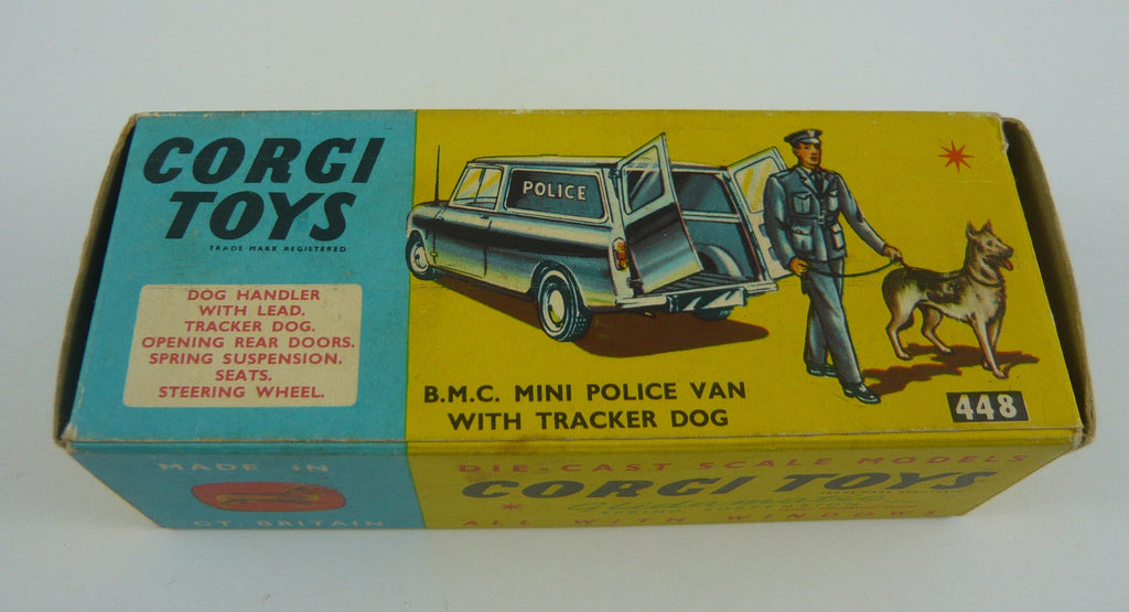 Original Boxed  Corgi 448 BMC Mini Police Van with Tracker Dog/Lead/Handler on original stand.