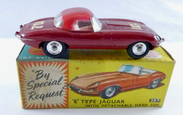 Boxed Corgi 307 E Type Jaguar with Detachable Hard Top