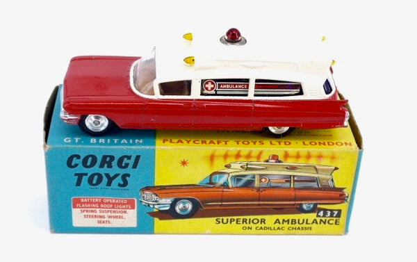 Original Boxed Corgi 437 Superior Ambulance on Cadillac Chassis