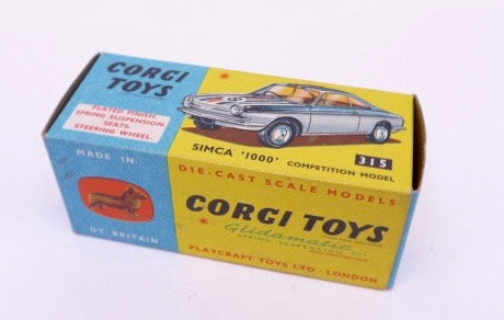 Original Boxed Corgi 315 Simca 1000 Competition Model