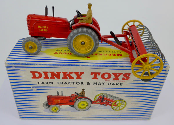 Boxed Dinky 27AK Farm Tractor and Hay Rake