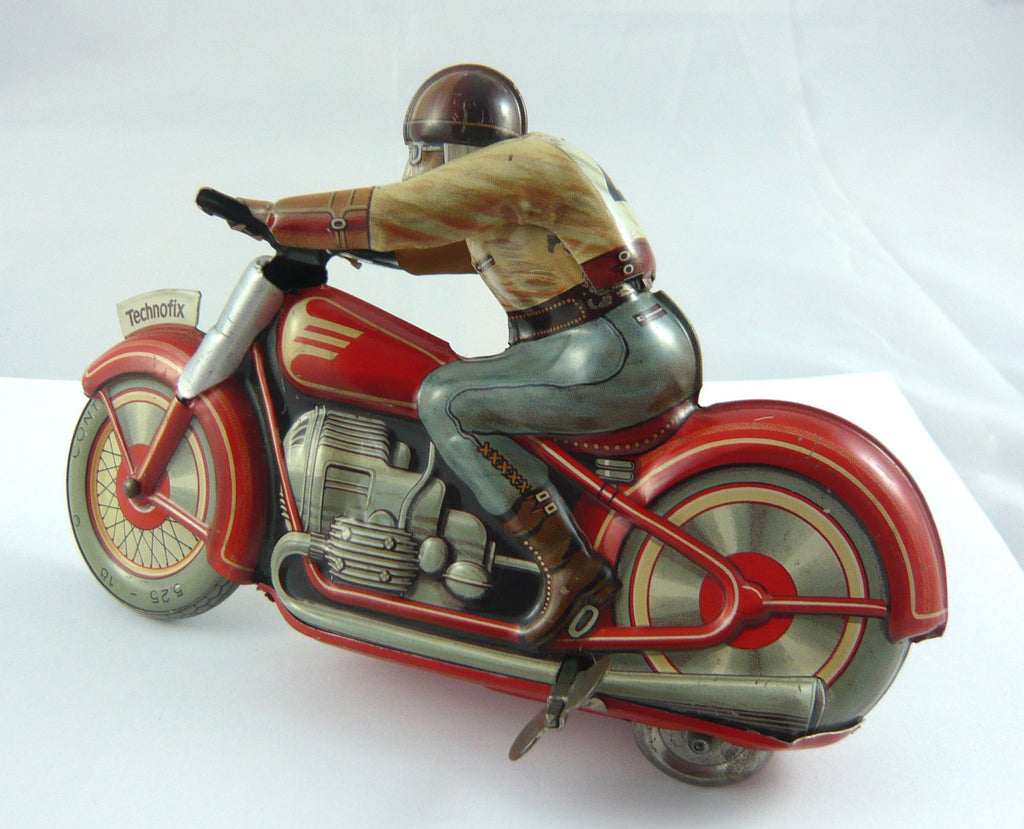 Original Technofix Motorcycle and rider. Produced circa 1950