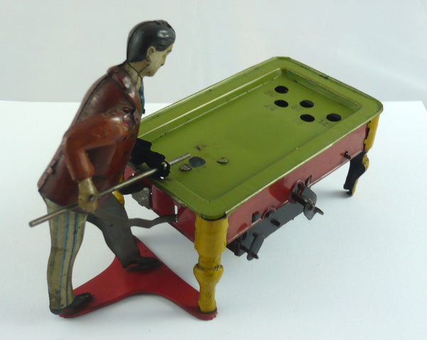 Original Kico Clockwork tinplate billiards player