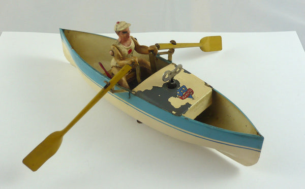 Original Arnold clockwork tinplate rower sculler and boat.Circa 1950