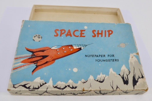 1960's Space Ship empty notepaper box