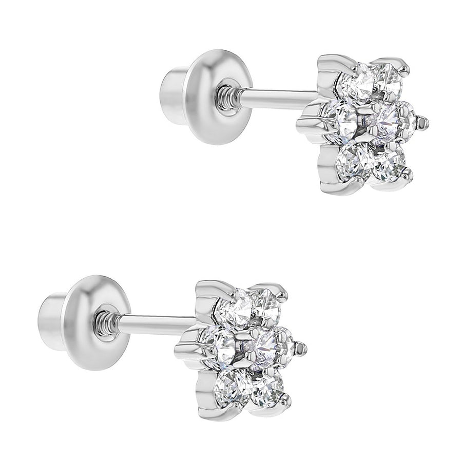 Rhodium Plated Clear Crystal Flower Baby Girl Screw Back Earrings