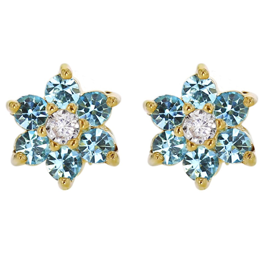 18k Gold Plated Light Blue Crystal Flower Screw Back Earrings for Babies Kids