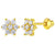 18k Gold Plated Clear Crystal Flower Toddler Baby Girls Screw Back Earrings