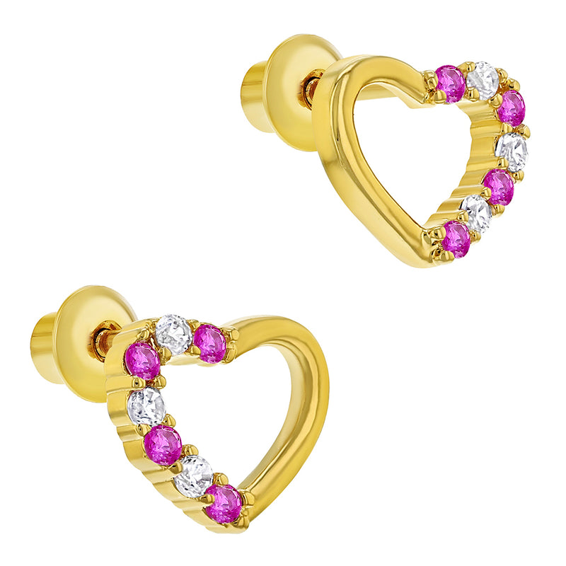 18k Gold Plated Pink & Clear Heart Screw Back Baby Earrings Kids 7mm