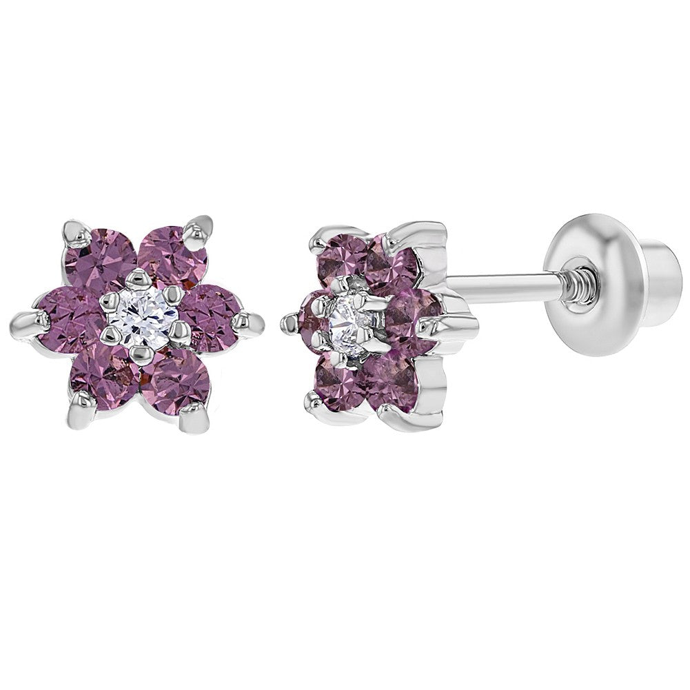 Rhodium Plated Purple Lavender Crystal Flower Screw Back Kids Baby Girl Earrings