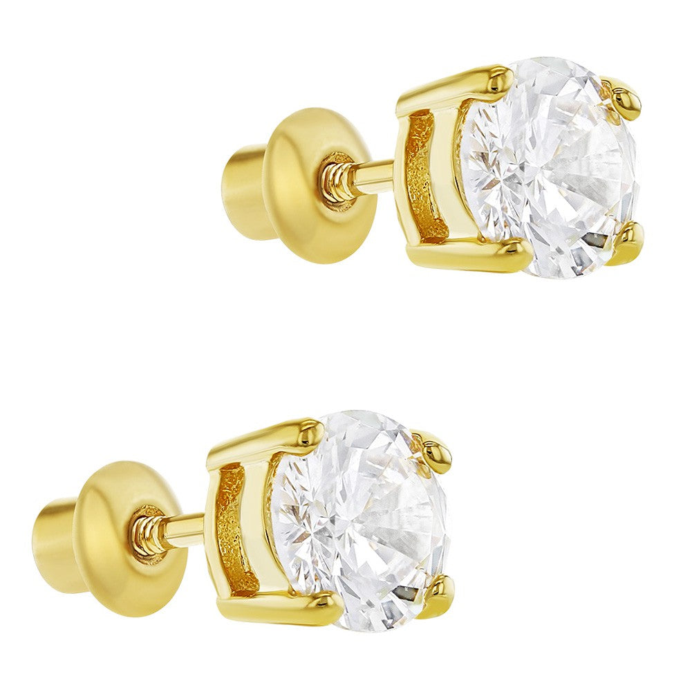 18k Gold Plated April Prong Set Clear Crystal Screw Back Girls Earrings 6mm