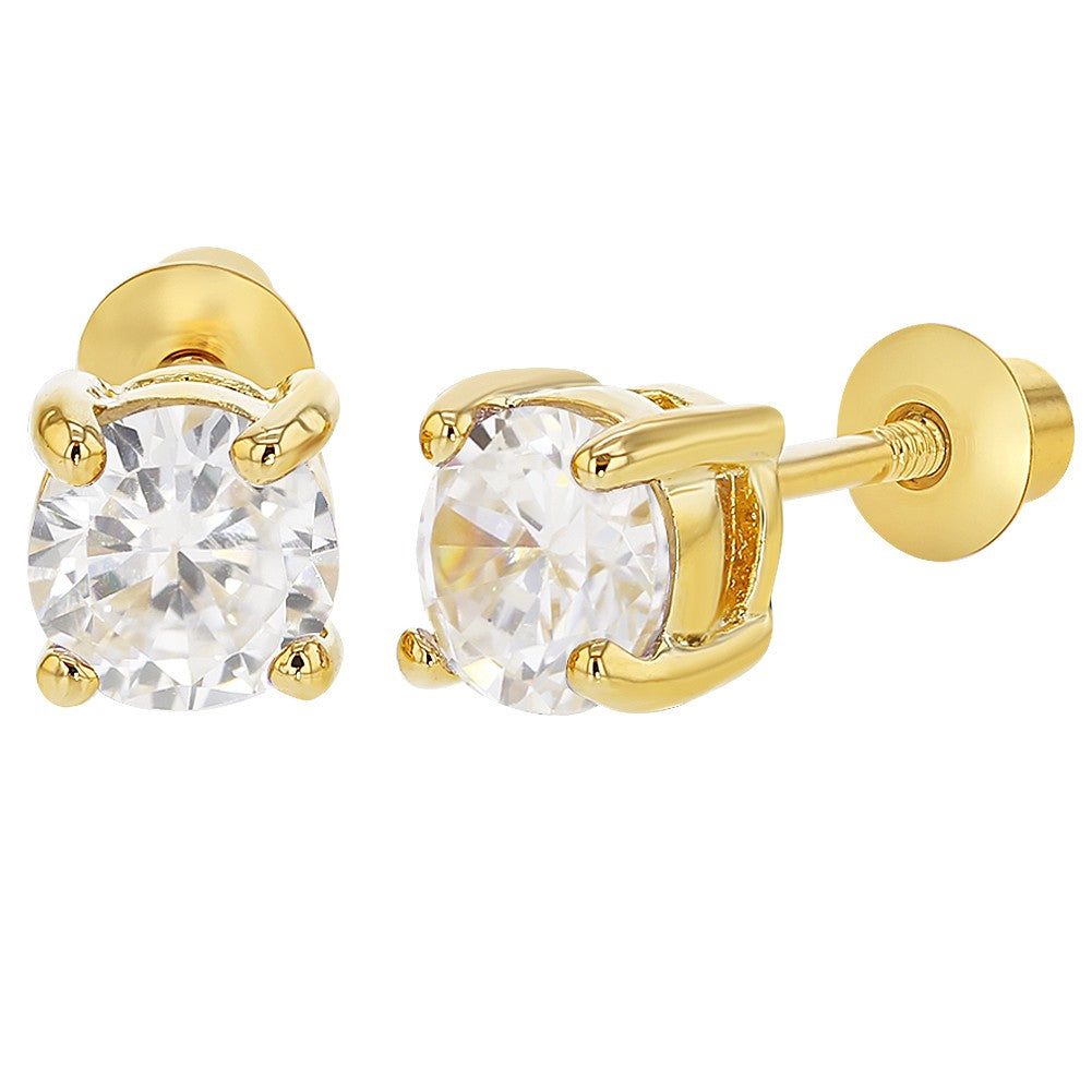 18k Gold Plated Screw on Back Earrings for Girls and Kids Round Clear CZ 5mm - In Season Jewelry - 1