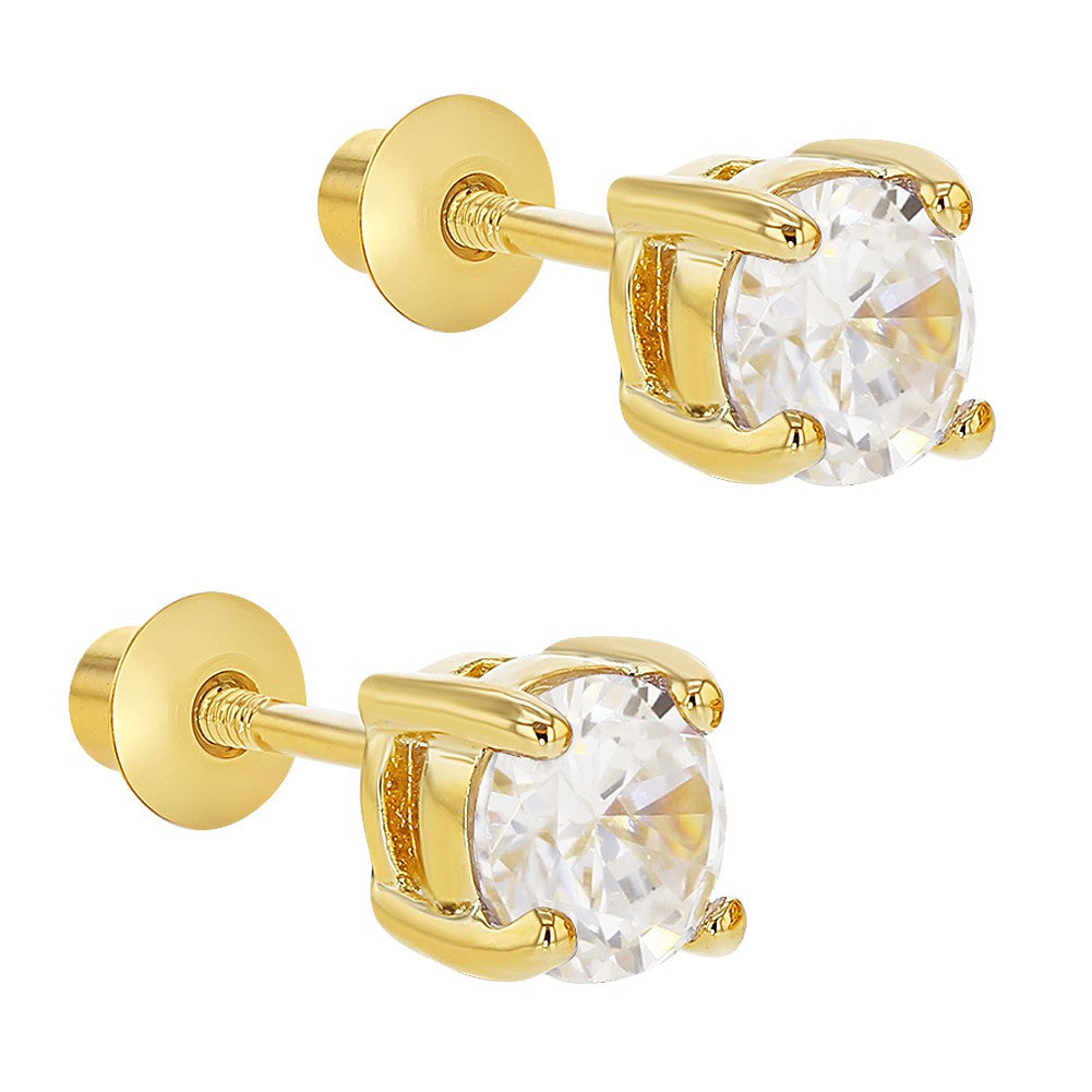 18k Gold Plated Screw on Back Earrings for Girls and Kids Round Clear CZ 5mm - In Season Jewelry - 2