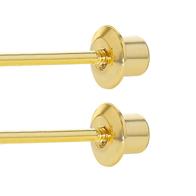 18k Gold Plated Screw Back Earrings for Girls and Kids Round Clear CZ 5mm