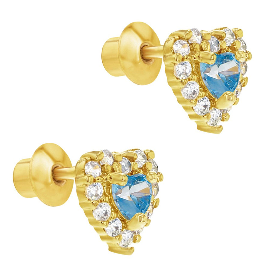18k Gold Plated Heart Screw Back Earrings Toddlers Kids Light Blue Clear CZ