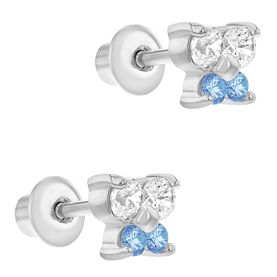 Rhodium Plated Light Blue Clear CZ Butterfly Screw Back Toddlers Girls Earrings