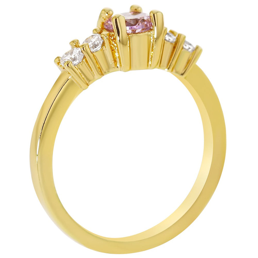 18k Gold Plated Small Pink Clear Crystal Rings for Girls - In Season Jewelry - 1