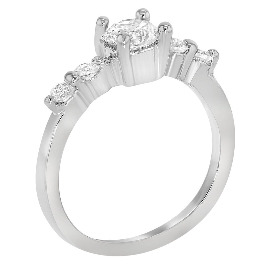 Rhodium Plated Clear Crystal Small Solitaire Toddler Rings for Girls
