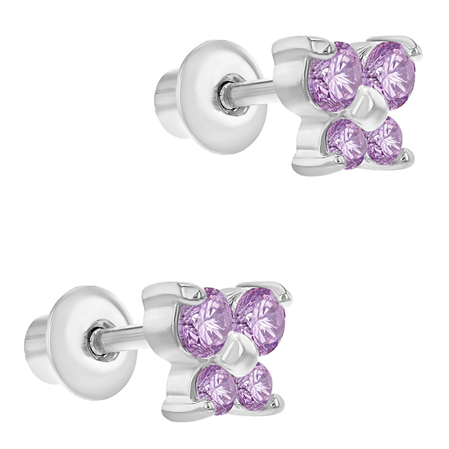 Rhodium Plated Pink Crystal Butterfly Screw Back Earrings Baby Girl Infants 5mm