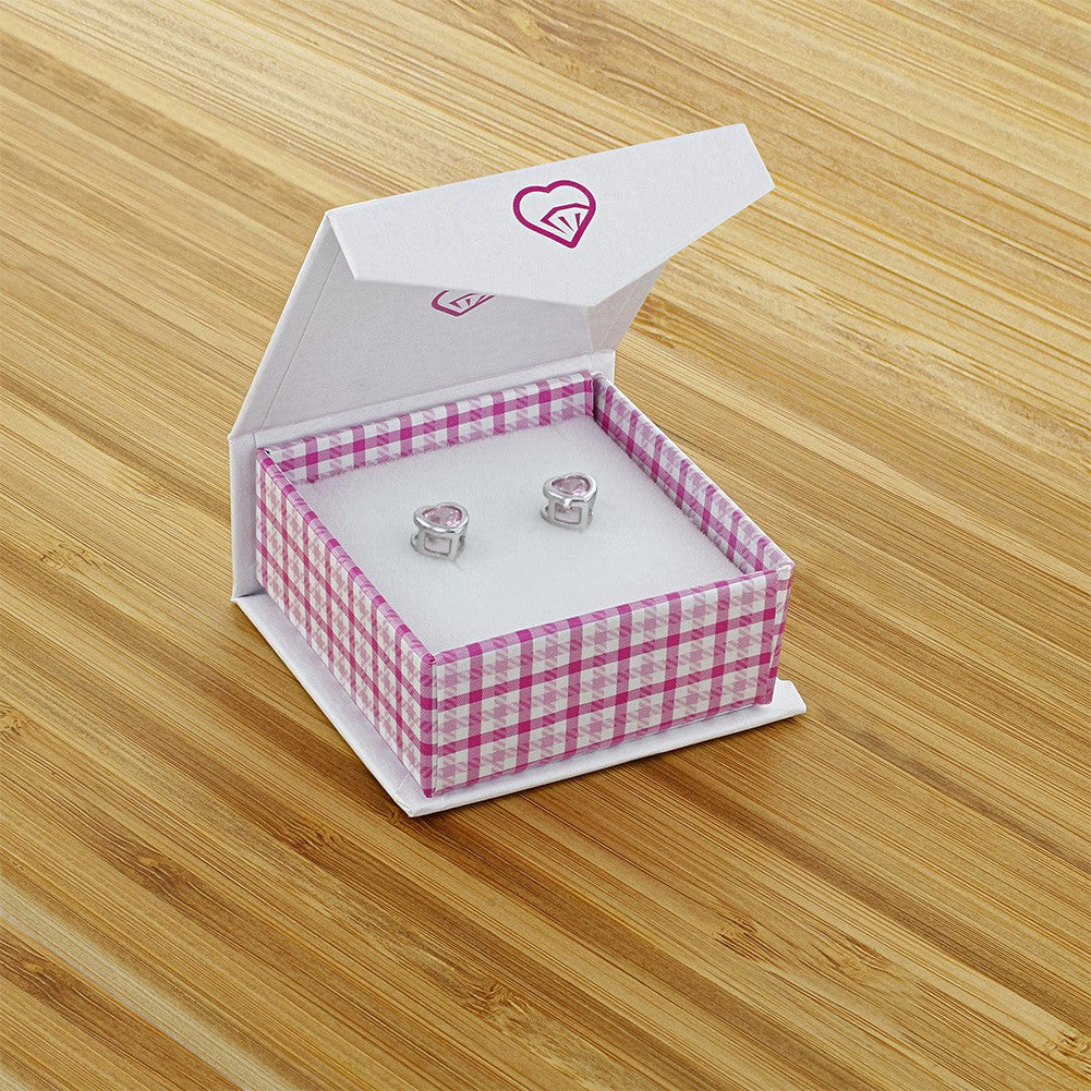 925 Sterling Silver Pink CZ Small Heart Screw Back Earrings Baby Girl