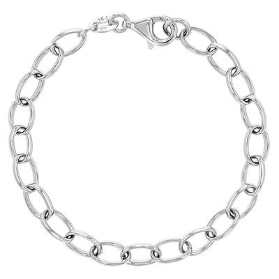 925 Sterling Silver Classic Link Chain Charm Bracelet for Little Girls & Preteen - Plain Bracelets for Girls