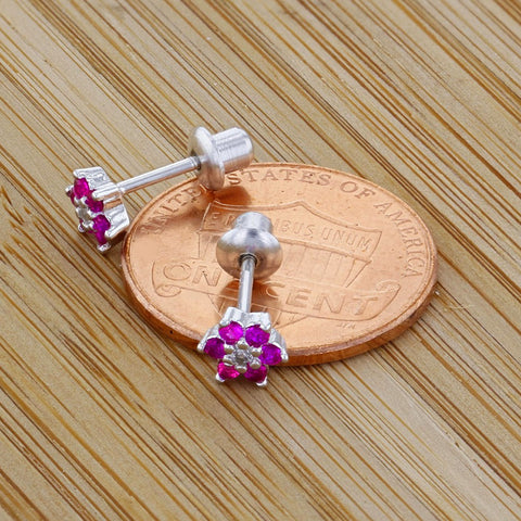 925 Sterling Silver CZ Hot Pink Flower Screw Back Baby Earrings Toddlers Kids