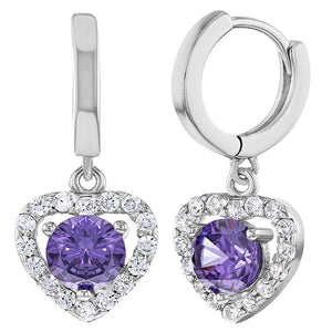 925 Sterling Silver Hoop Heart Dangle Earrings Clear Purple CZ for Girls Teens