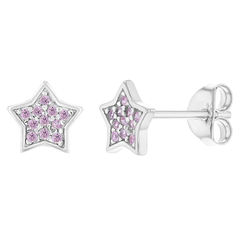 925 Sterling Silver Star Stud Earrings Pink CZ for Girls Teens