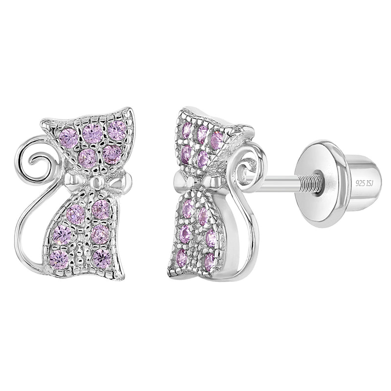 925 Sterling Silver Pink CZ Screw Back Cat Earrings for Girls & Teens