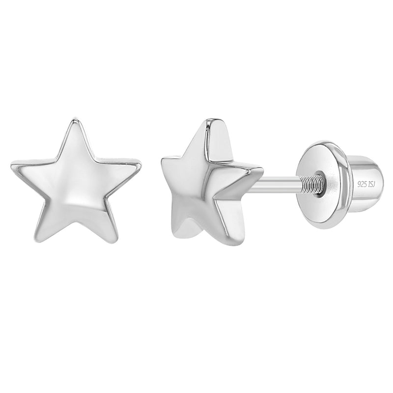 925 Sterling Silver 6mm Little Star Screw Back Earrings for Toddlers & Girls
