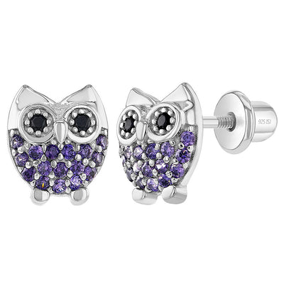 925 Sterling Silver Girls Purple Cubic Zirconia Owl Earrings with Screw Backs