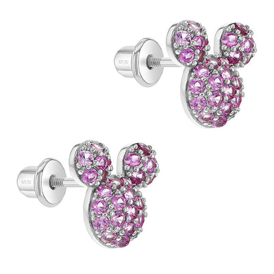 925 Sterling Silver Magenta Cubic Zirconia Mouse Studs for Young Girls & Teens, Mini Earrings
