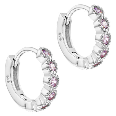 925 Sterling Silver Pink CZ Huggie Small Hoop Earrings Infants Girls 0.39""