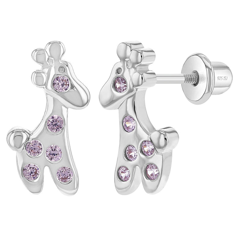 925 Sterling Silver Pink CZ Giraffe Screw Back Earrings for Toddlers & Young Girls