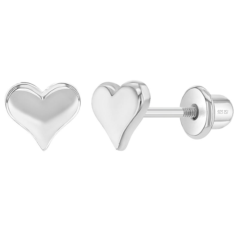 925 Sterling Silver Classic Heart Toddler Screw Back Earrings for Babies & Kids