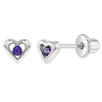 925 Sterling Silver Purple CZ Little Heart Screw Back Earrings Baby Girls