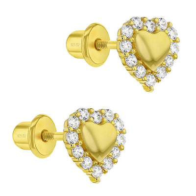 925 Sterling Silver Gold Plated Clear CZ Screw Back Heart Earrings Girls