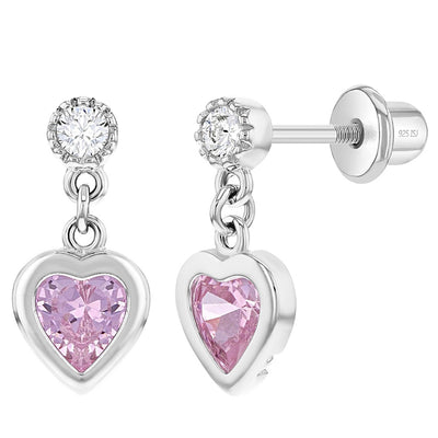 925 Sterling Silver Cubic Zirconia Girl's Dangle Heart Screw Back Earrings