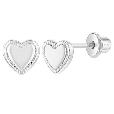 925 Sterling Silver Classic 6mm Heart Screw Back Earrings Toddlers & Young Girls