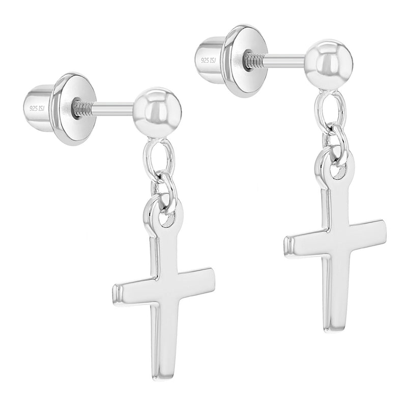 925 Sterling Silver Cross Dangle Earrings Safety Screw Backs Young Girls Teens