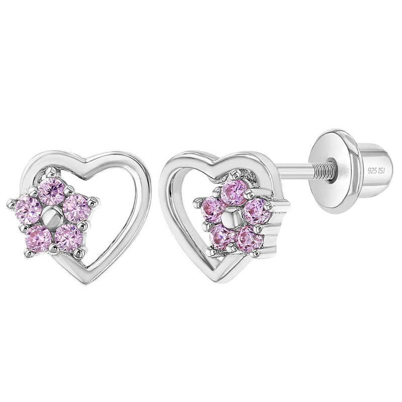 925 Sterling Silver Heart & Flower Pink CZ Screw Back Earrings Children Girls