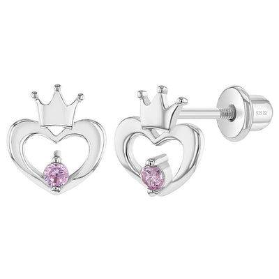 925 Sterling Silver Pink CZ Open Heart Crown Screw Back Earrings Toddlers Babies