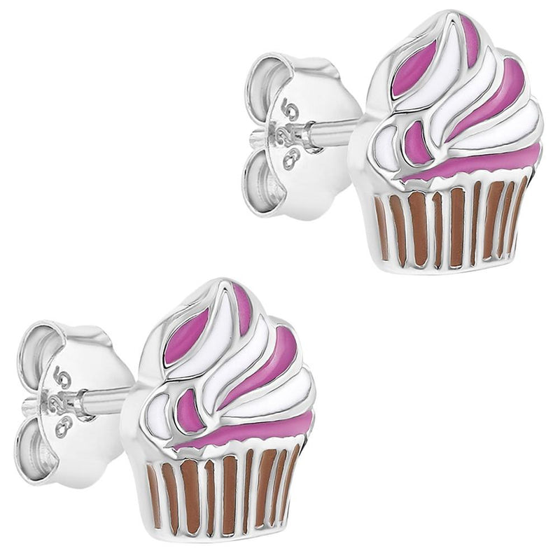 925 Sterling Silver Pink Enamel Stud Cupcake Earrings for Girls