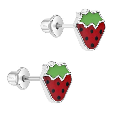 925 Sterling Silver Girls Enamel Strawberry Earrings with Screw Backs - Toddler to Young Girls