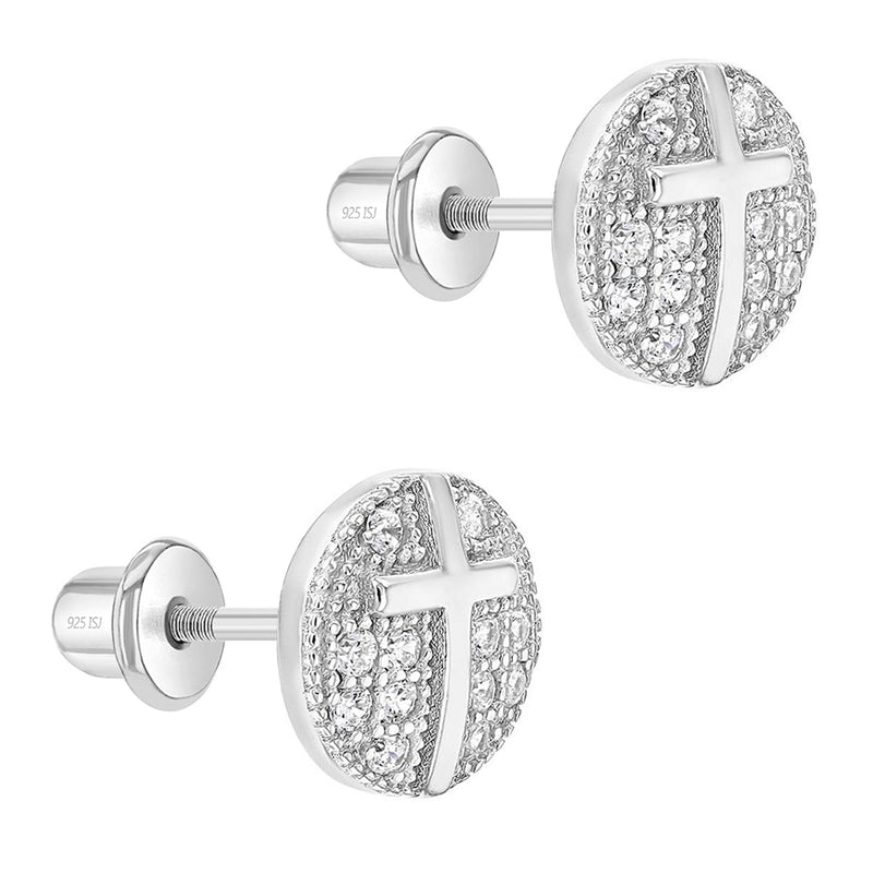 925 Sterling Silver Clear CZ Pave Cross Screw Back Earrings for Girls Teens
