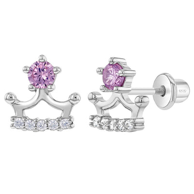 925 Sterling Silver Cubic Zirconia Princess Crown Screw Back Earrings for Toddlers