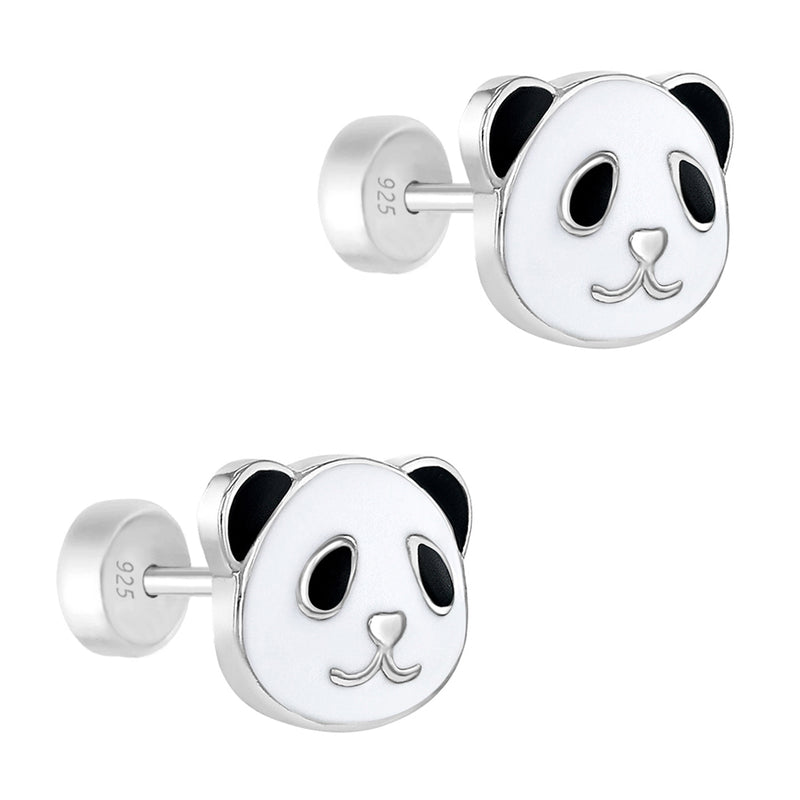 925 Sterling Silver Enamel Bear Panda Earrings Safety Back Studs for Girls